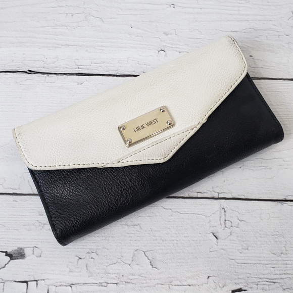 Nine West Handbags - Nine West Black and White Tri-Fold Wallet